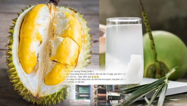 Ăn sầu riêng uống nước dừa được không?